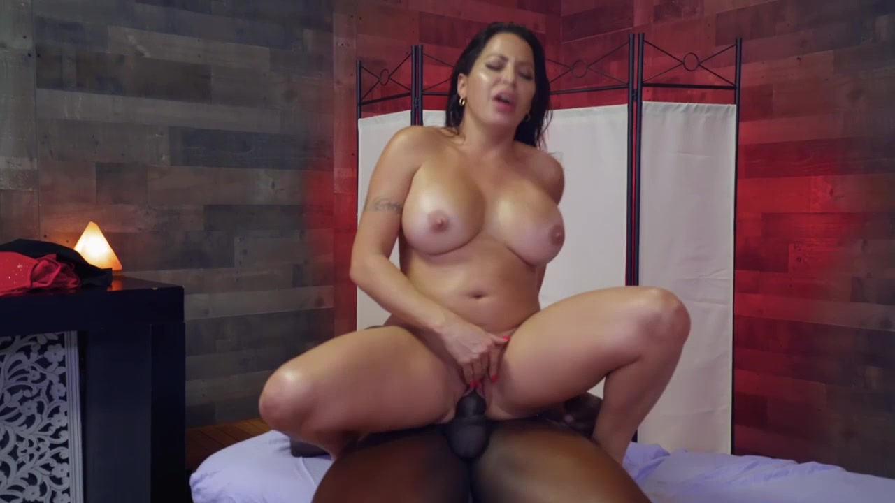 Chubby brunette gets interracial orgasm on big black dick