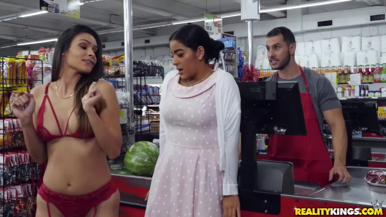 Brunette undresses to get a discount and an orgasm